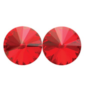14mm Swarovski Light Siam Simple Rivoli Earrings Clip-On