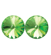14mm Swarovski Peridot Simple Rivoli Earrings Clip-On