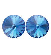 14mm Swarovski Sapphire Simple Rivoli Earrings Pierced