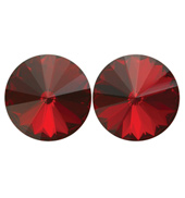 14mm Swarovski Siam Simple Rivoli Earrings Clip-On