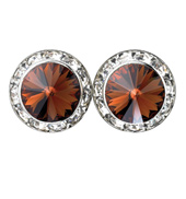 15mm Swarovski Smoke Topaz Performance Earrings Clip-On