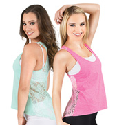 Adult Hi-Lo Lace Back Tank Top