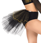 Adult Black/Gold Stiff Tulle Bustle