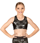 Girls Lace Overlay Mesh Racerback Tank Bra Top
