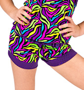 Child Neon Print Ruffle Waist Short