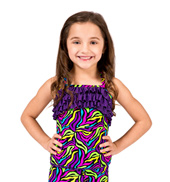 Child Neon Print Camisole Ruffle Top