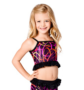 Child Black Swirl Camisole Crop Top