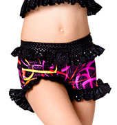 Child Black Swirl Ruffle Short