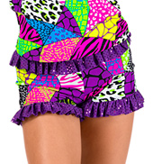 Child Animal Print Patchwork Ruffle Dance Short