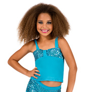 Child Turquoise Sequin Pinch Front Tank Top