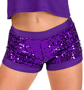 Child Purple Sequin Dance Short