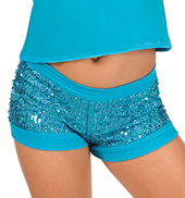 Child Turquoise Sequin Short