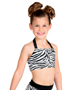 Girls Zebra Halter Bra Top with Strappy Back