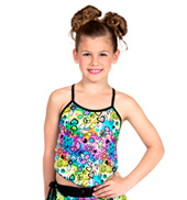 Girls Printed Camisole Top with Criss Cross Back