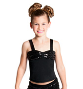 Girls Black Sequin Pinch Front Tank Top