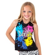Girls Glitter Dance Tank in Black