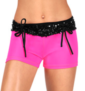 Girls Sequin Waistband Dance Shorts