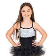 Girls Sequin Cross Back Camisole Leotard