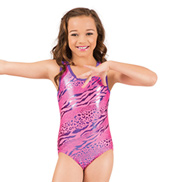 Girls Gymnastic Metallic Leopard Cross Back Tank Leotard