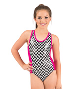 Girls Metallic Chevron Insert Tank Gymnastic Leotard