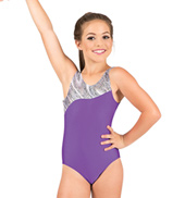 Girls Metallic Leopard Insert Tank Gymnastic Leotard