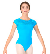 Adult Lace Short Sleeve Leotard