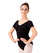 V-Neck Cap Sleeve Leotard