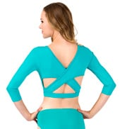 Adult Rio 3/4 Sleeve Criss-Cross Back Crop Top