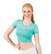 Adult Sweetheart Cap Sleeve Lace Crop Top