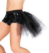 Child Sequin Short with Attached Tulle Bustle