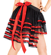 Red Satin Trimmed Tulle Tutu with Bustle