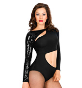 Long Sleeve Cut Out Leotard with Attached Sequin Shrug