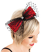 Swiss Dot Tulle &amp; Red Satin Bow Headband