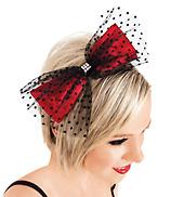 Swiss Dot Tulle & Red Satin Bow Headband