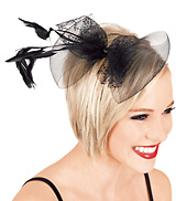 Feather &amp; Net Bow Hair Clip