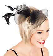 Feather & Net Bow Hair Clip