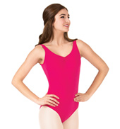 Adult Brushed Cotton Pinch Front Tank Dance Leotard