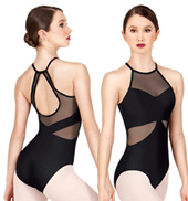 Adult High Neck Mesh Halter Leotard