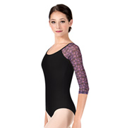 Adult Floral Mesh Long Sleeve Dance Leotard