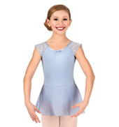 Girls Scalloped Lace Short Sleeve Ballet Dress