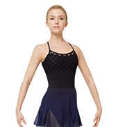 Girls Geometric Mesh Camisole Leotard
