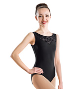 Flocked Asymmetrical Tank Leotard