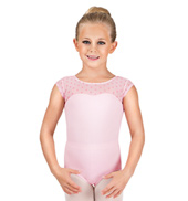 Girls Polka Dot Cap Sleeve Leotard