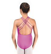 Girls Halter High Neck Drape Front Leotard