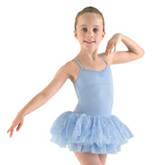 Girls Frill Tutu Camisole Leotard
