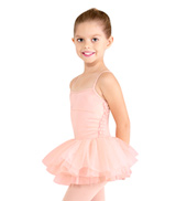 Girls Flower Trim Camisole Tutu Dress