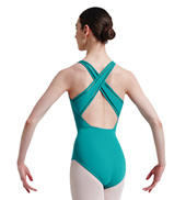 Adult Lattice Elastic Cross Back Tank Leotard