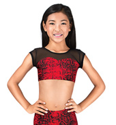 Girls Red Print Cap Sleeve Crop Top