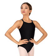 Girls Crinkle Sequin Mesh X-Back Camisole Leotard