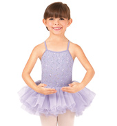 Girls Crinkle Sequin Mesh Camisole Tutu Dress